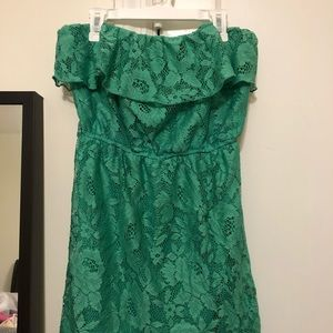 Green lace tube dress